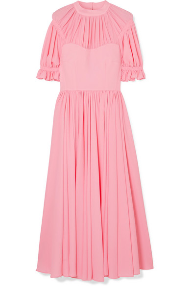 Emilia Wickstead - Philly Pleated Cloqué Midi Dress - Baby pink