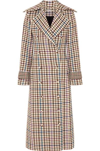 EMILIA WICKSTEAD Elvira Houndstooth Tweed Coat in Brown