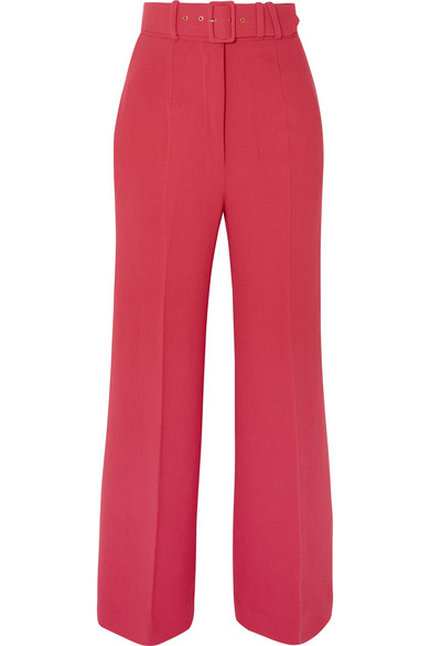 Emilia Wickstead - Jana Belted Wool-crepe Wide-leg Pants - Red