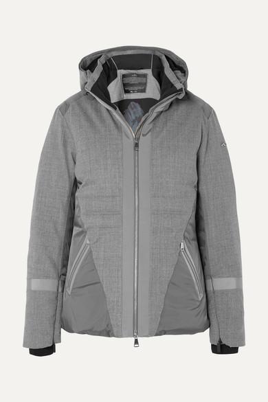KJUS Sella Hooded Paneled Wool-Blend Down Ski Jacket in Gray