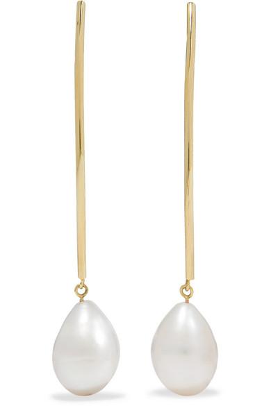 LOREN STEWART 14-karat gold pearl earrings