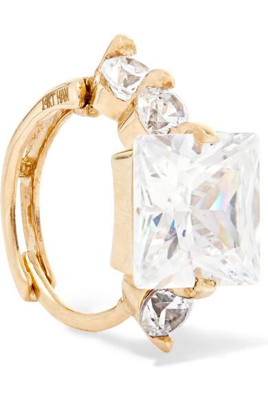 LOREN STEWART Queen Elz 14-karat gold cubic zirconia ear cuff