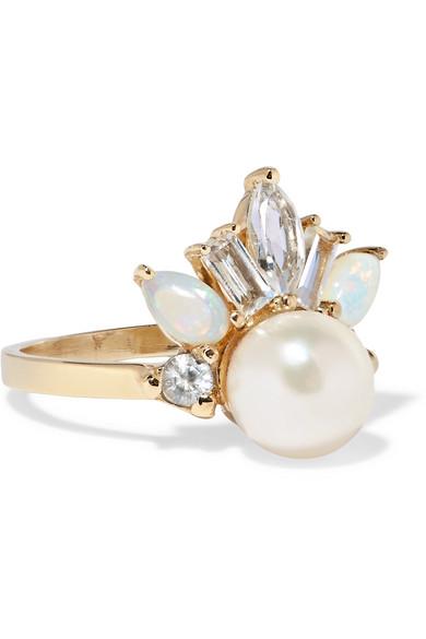 LOREN STEWART Crowned Jewel II 14-karat gold multi-stone ring
