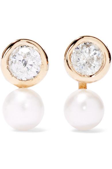 LOREN STEWART Floating 14-karat gold, diamond and pearl earrings