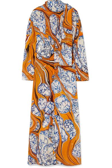 Printed Silk-Blend Crepe De Chine Maxi Dress in Saffron