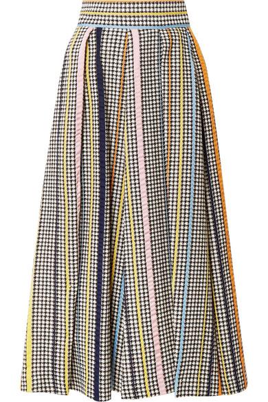 Pleated Houndstooth Tweed Midi Skirt, Gray
