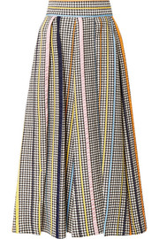Rosie Assoulin Pleated houndstooth tweed midi skirt