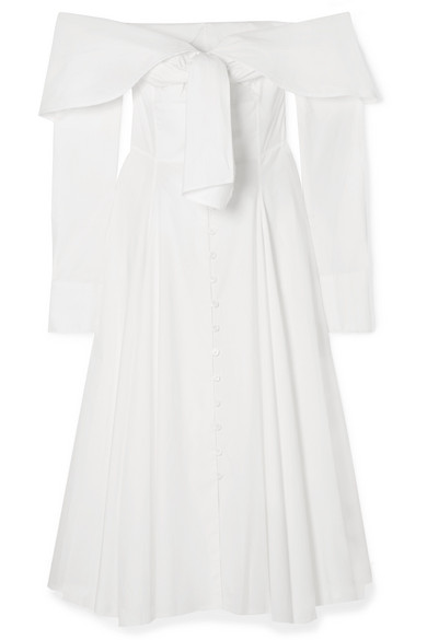 Booby Trap Off-The-Shoulder Tie-Front Cotton-Blend Poplin Dress in White