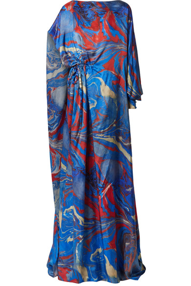 Rosie Assoulin - Lady Liberty Gathered Printed Crepe De Chine Gown - Blue