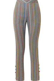 Oboe wool and silk-blend jacquard slim-leg pants