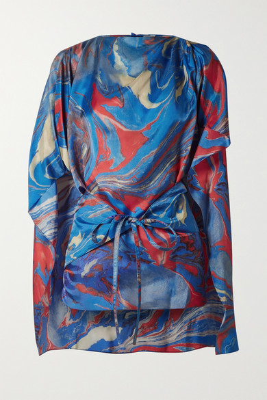 Rosie Assoulin - Cape-effect Marbled Crepe De Chine Top - Blue