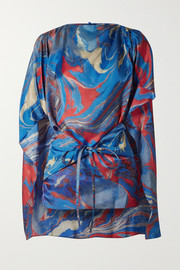 Cape-effect marbled crepe de chine top