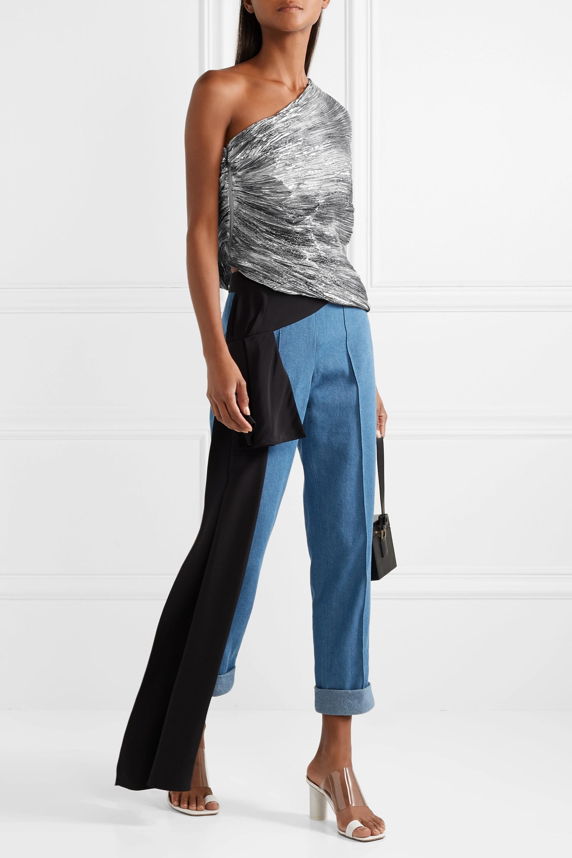 Rosie Assoulin Cocoon one-shoulder plissé-lamé top