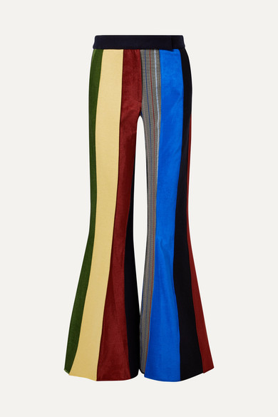 ROSIE ASSOULIN Paneled Wool Flared Pants in Multicolour