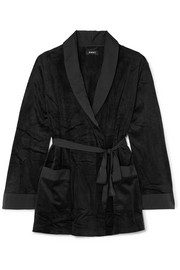 After Hours satin-trimmed stretch-velvet robe