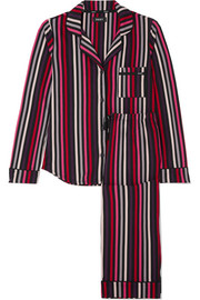 City striped stretch-jersey pajama set