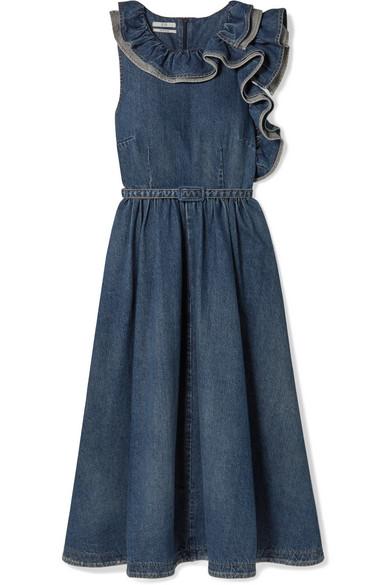 Belted Ruffled Denim Midi Dress, Blue