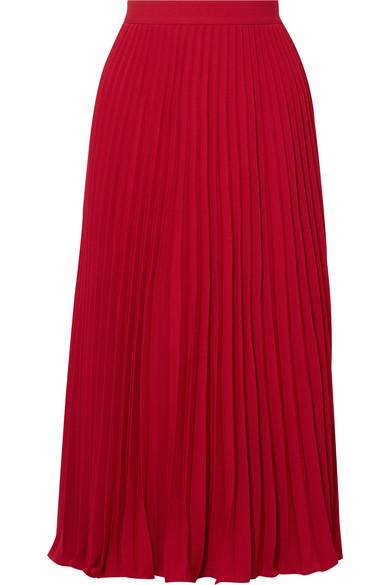 Co - Pleated Crepe De Chine Midi Skirt - Crimson