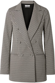 Double-breasted cotton-blend jacquard blazer