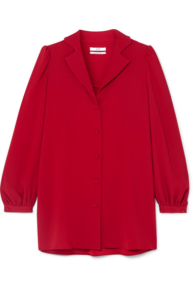 Gathered Crepe Shirt in Red