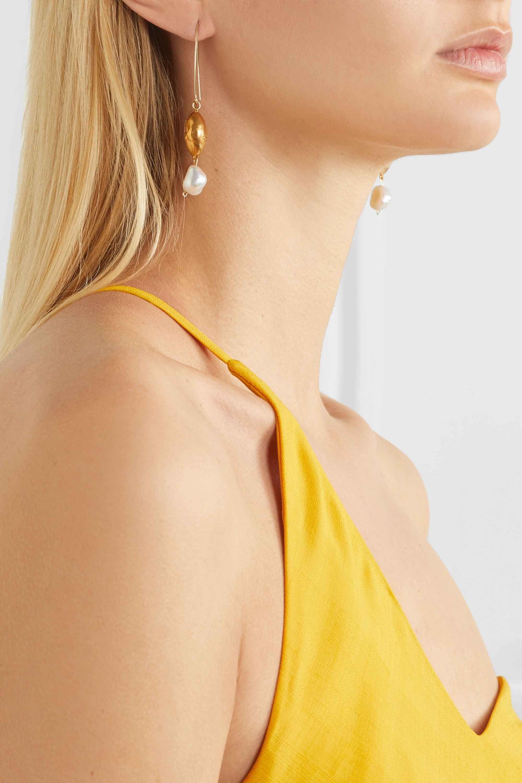 Alighieri Goodnight Moon gold-plated pearl earrings