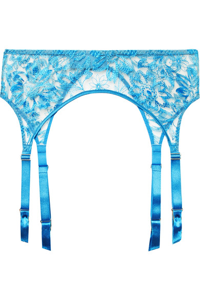 Myla - Columbia Road Embroidered Tulle Suspender Belt - Azure