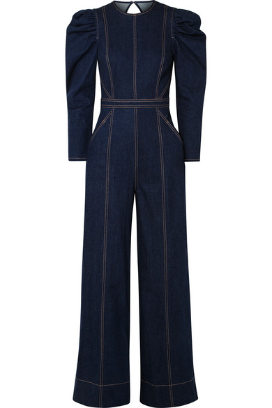 Dawn Open-Back Stretch-Denim Jumpsuit, Dark Denim