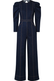 Dawn open-back stretch-denim jumpsuit