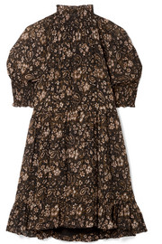 Josie smocked floral-print silk-georgette mini dress