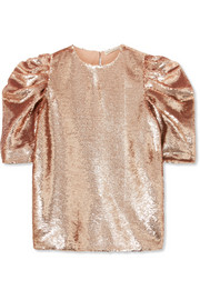 Rae ruched sequined tulle top