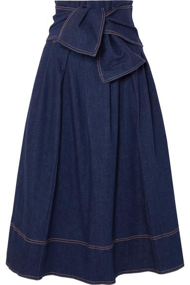 Virgil Belted Denim Midi Skirt in Blue