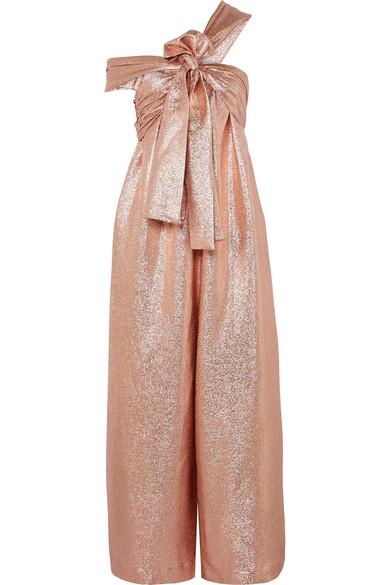 ULLA JOHNSON Jagger One-Shoulder Silk-Blend Lamé Jumpsuit in Pink