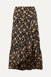 Ulla Johnson Alie ruffled fil coupé silk-blend midi skirt