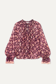 Naliah printed metallic fil coupé silk-blend chiffon blouse