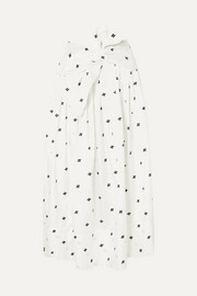 Ulla Johnson Aglae bow-detailed embroidered taffeta midi skirt