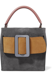 Devon buckled color-block suede and leather tote