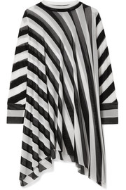 Norma Kamali Turtle striped mesh poncho