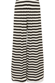 Norma Kamali Elephant striped wide-leg stretch-jersey pants