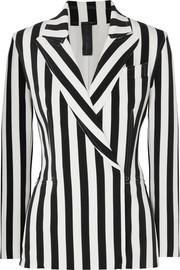 Norma Kamali Double-breasted striped stretch-jersey blazer