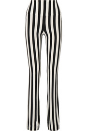 Norma Kamali Striped stretch-jersey bootcut pants