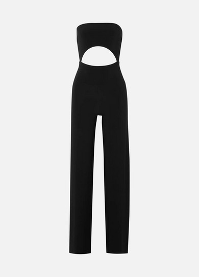 Strapless Cutout Stretch-Jersey Jumpsuit in Black