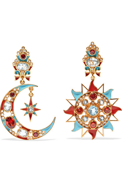 PERCOSSI PAPI GOLD-PLATED AND ENAMEL MULTI-STONE CLIP EARRINGS