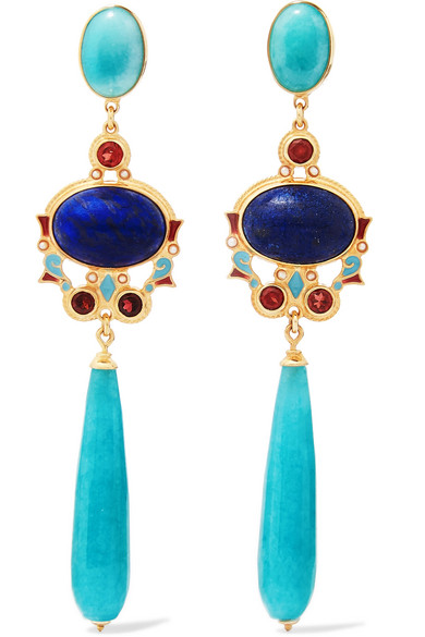 PERCOSSI PAPI Gold-Plated And Enamel Multi-Stone Earrings in Blue