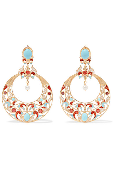 PERCOSSI PAPI GOLD-PLATED MULTI-STONE CLIP EARRINGS