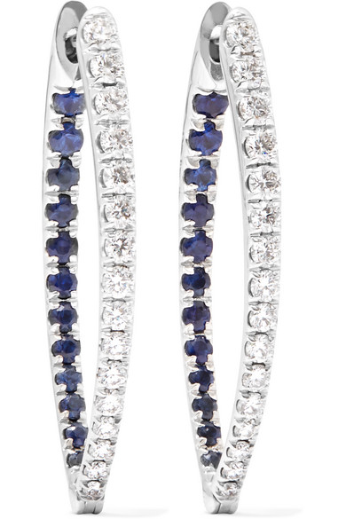 Christina 18-Karat White Gold, Diamond And Sapphire Earring