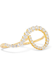 Aria Grace 18-karat gold diamond two-finger ring