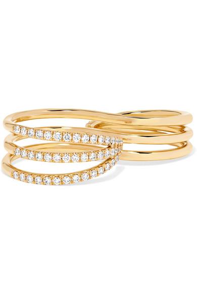 Aria Grace 18-karat Gold Diamond Two-finger Ring - 6 Melissa Kaye TrRPW