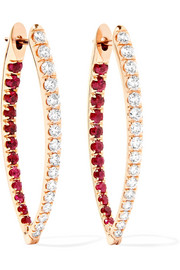 Cristina 18-karat rose gold, diamond and ruby earrings