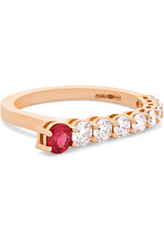Aria 18-karat rose gold, diamond and ruby ring