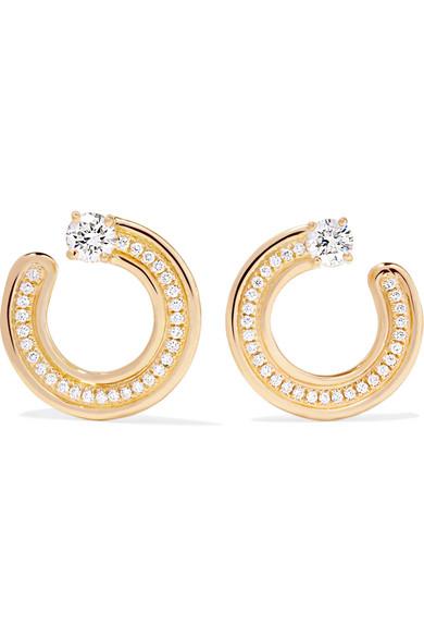 MELISSA KAYE JEN 18-KARAT GOLD DIAMOND HOOP EARRINGS